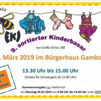 9. sortierter Kinder-Basar 31.03.2019