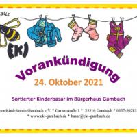Vorankündigung – 12. sortierter Kinderbasar (Herbst/Winter)